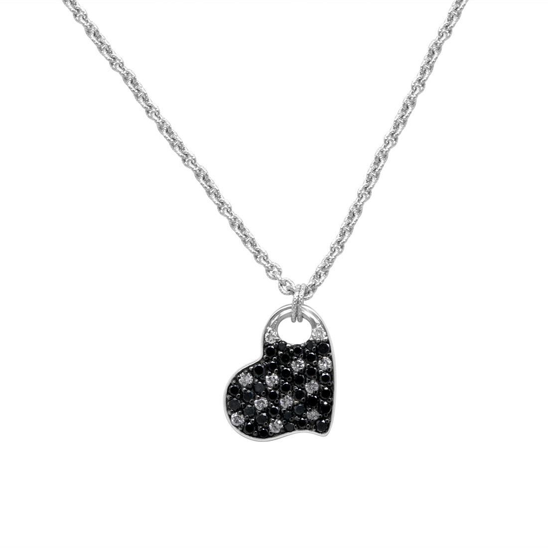 Collana con pendente cuore in oro bianco e diamanti ct. 0,69 - ROBERTO DEMEGLIO
