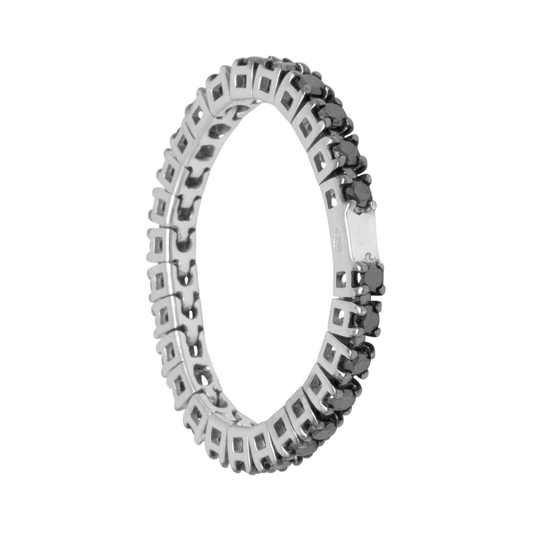 Anello in oro bianco con diamanti neri - ROBERTO DEMEGLIO
