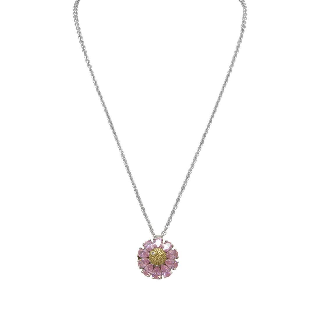 Collana con piccolo ciondolo a margherita in argento e zirconi rosa ct 0.61, lunghezza 40-43 cm + pendente 1 cm - ROBERTO DEMEGLIO
