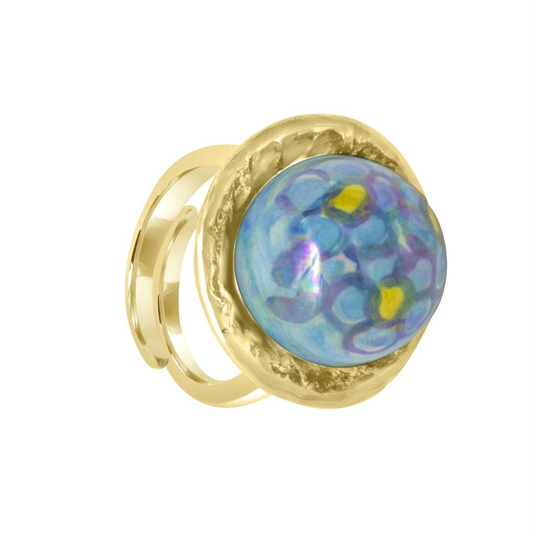 Anello in argento con perla in ceramica - LE PERLE DI CALTAGIRONE