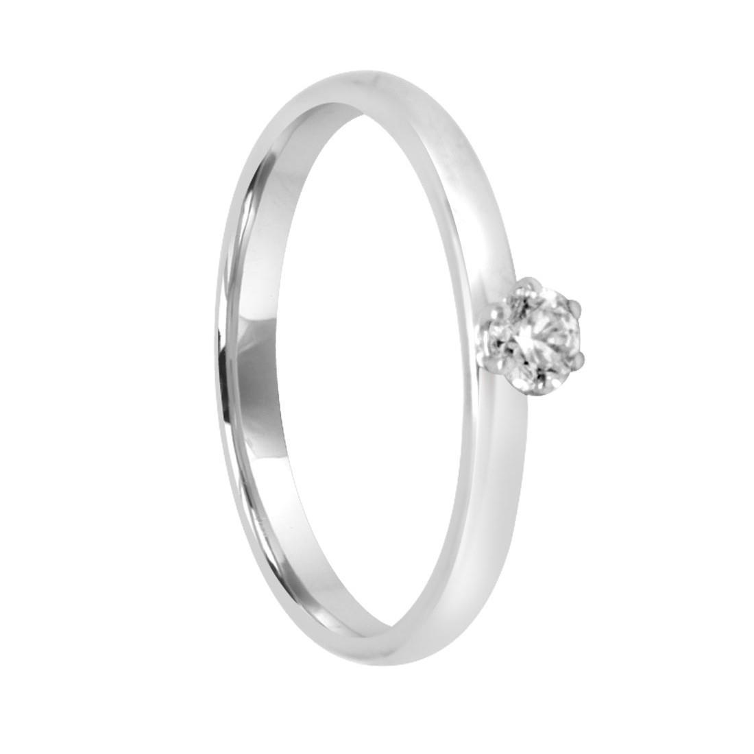 Anello in oro bianco con diamante ct 0.158, misura 15 - DAMIANI