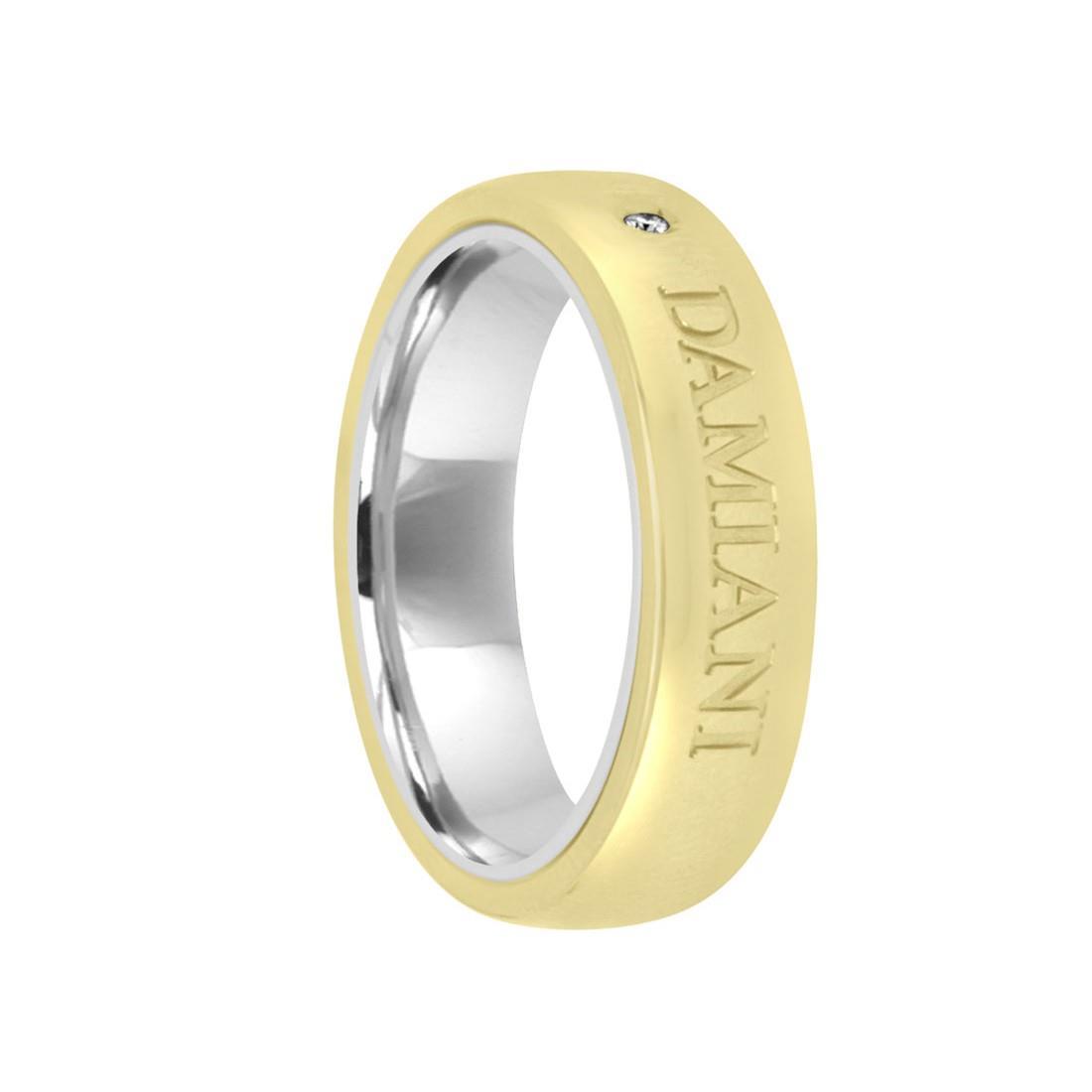 Anello in oro bianco e oro giallo con diamante  - DAMIANI