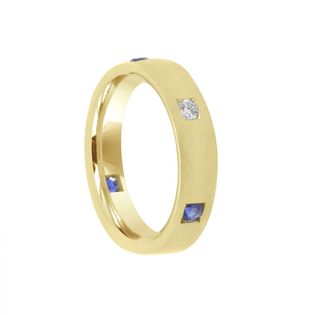 Anelloi in oro giallo con diamante ct 0.10 e zaffiri ct 0.30 - DAMIANI