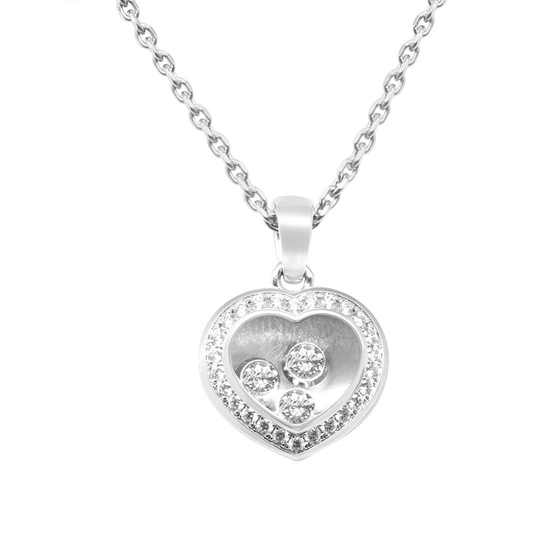 Pendente con catena in oro bianco e diamanti ct 0.29 - CHOPARD