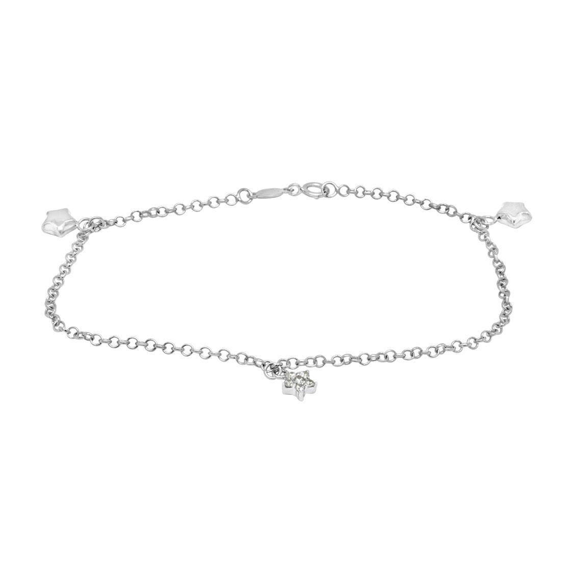 Bracciale in oro bianco con charm stelline - ORO&CO