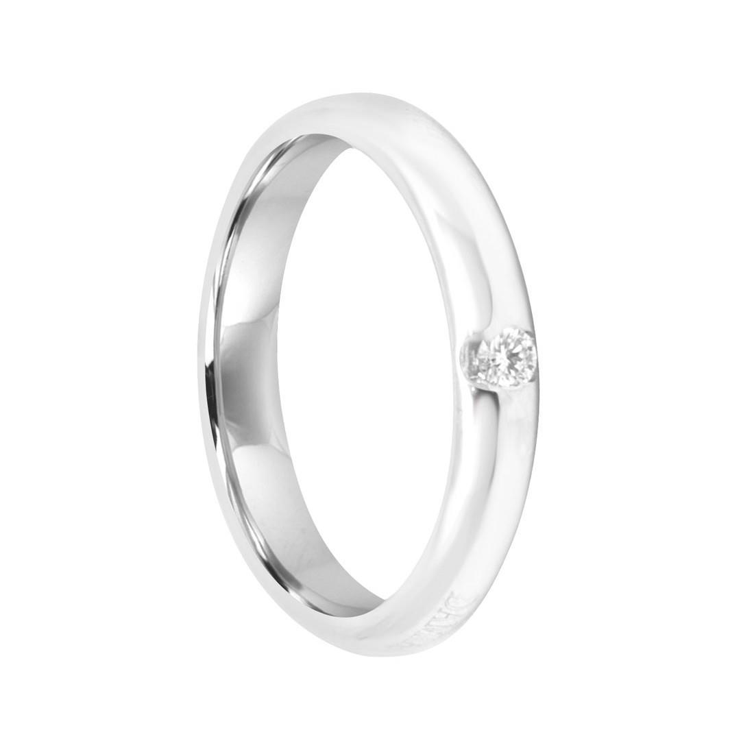 Anello solitario in oro bianco con diamante, misura 7 - DAMIANI