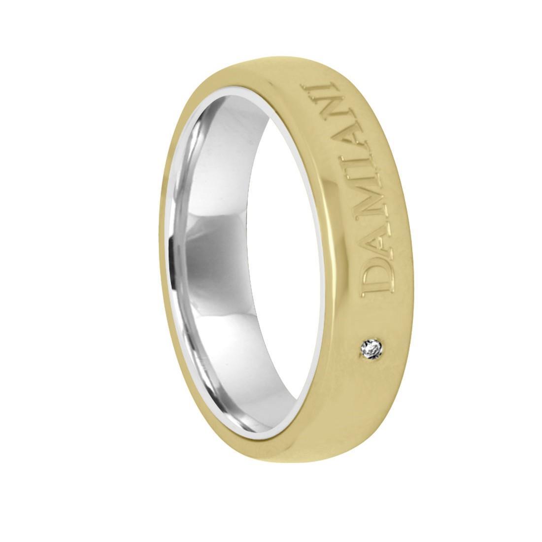 Anello in oro giallo e bianco con diamante ct 0.02, misura 20 - DAMIANI