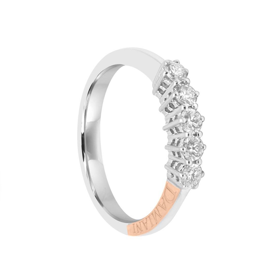 Anello veretta  in oro bianco e 5 diamanti ct 0.40 - DAMIANI
