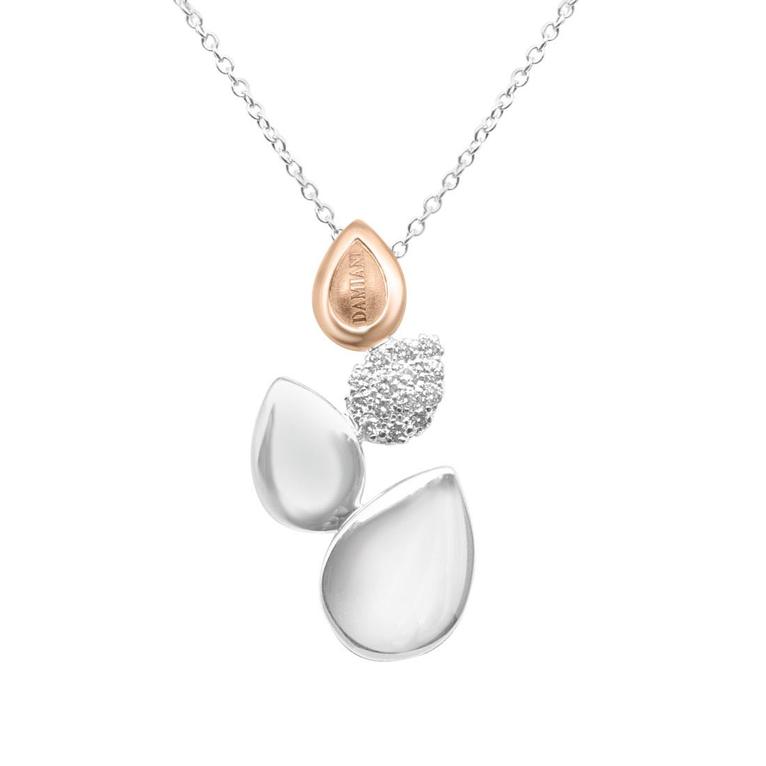 Collana in oro bianco e rosa con diamanti ct 0.21 - DAMIANI