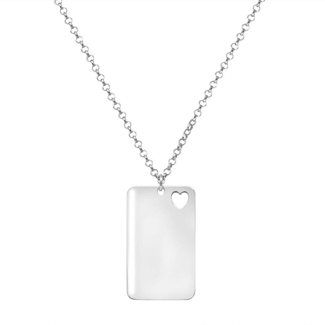 Collana in argento con piastrina cuore - ORO&CO
