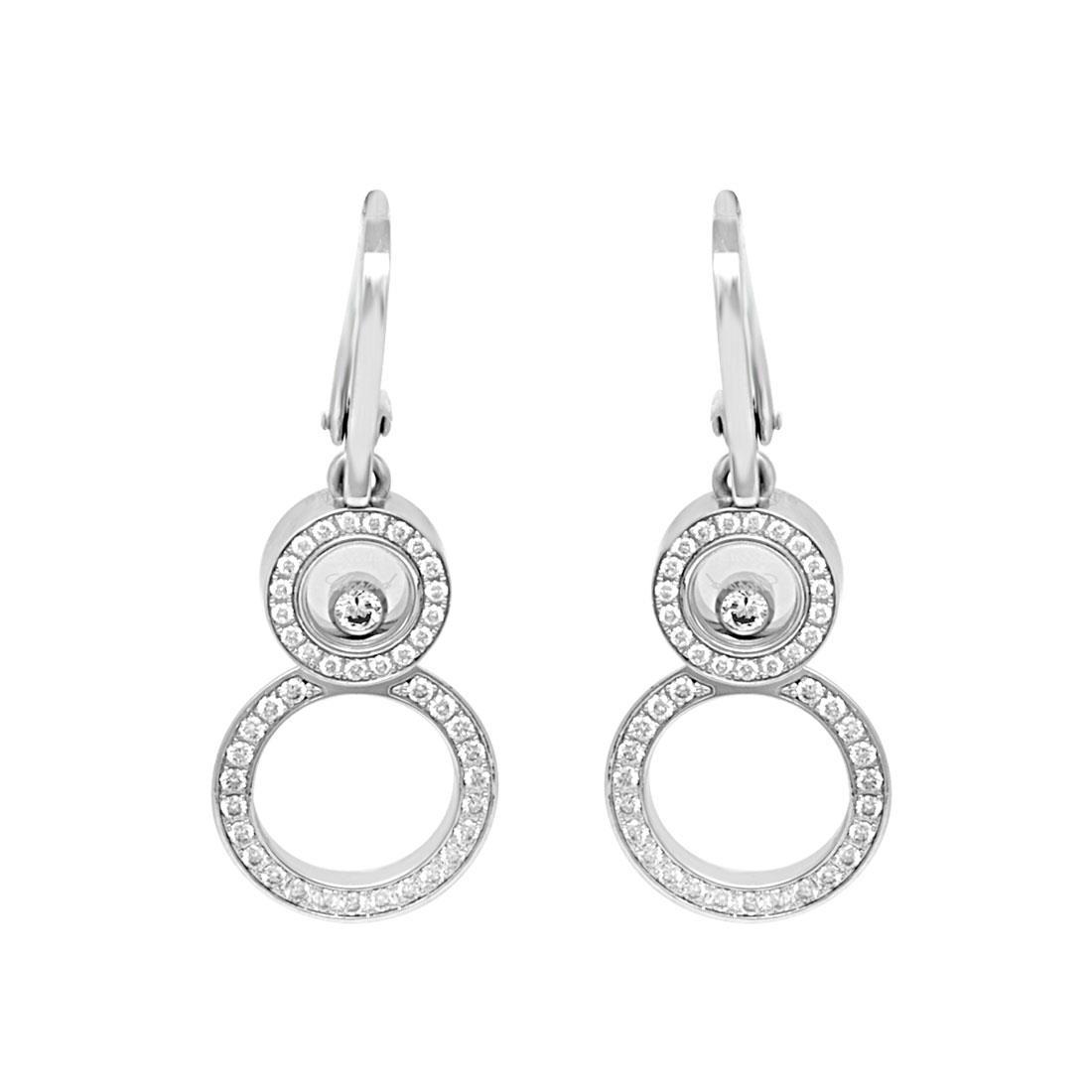 Orecchini pendenti in oro bianco con diamanti  - CHOPARD