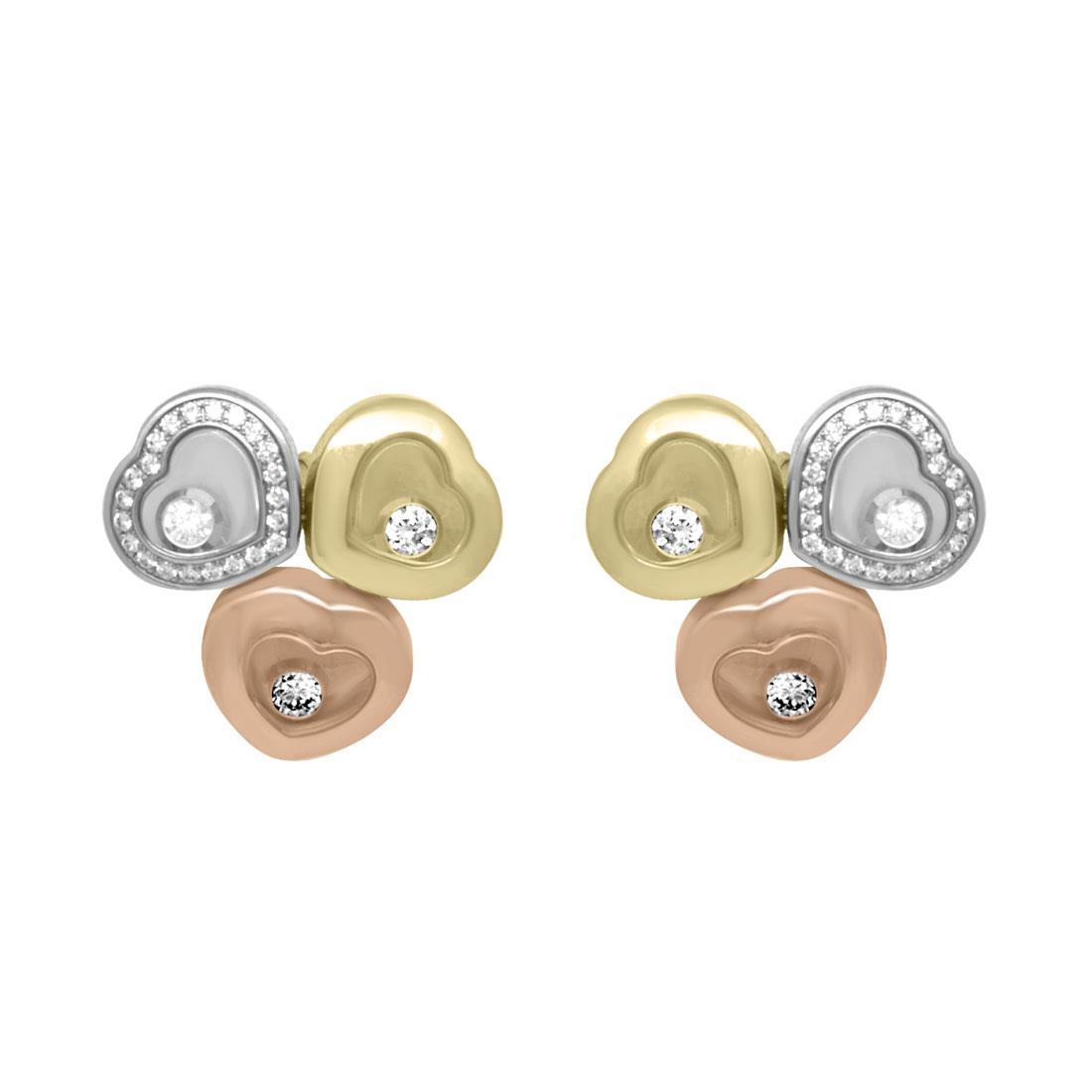 Orecchini in oro bianco, giallo e rosa con diamanti ct 0.290 - CHOPARD