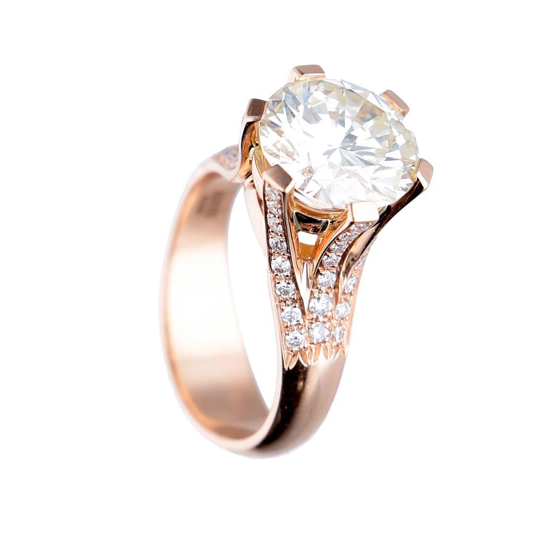 Anello in oro rosa con diamante ct 3.60, misura 12 - ALFIERI ST JOHN