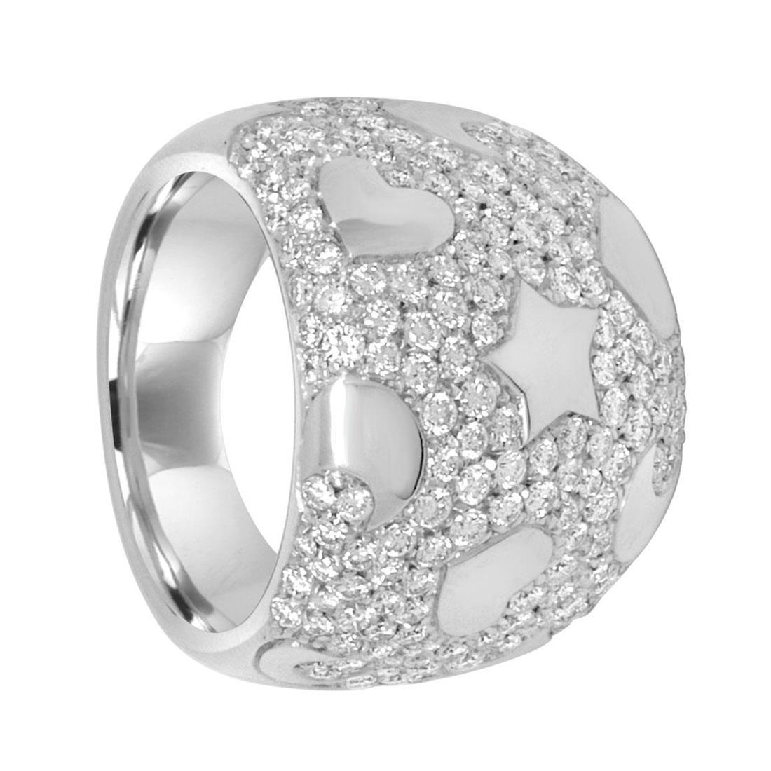 Anello in oro bianco con pavé di diamanti 2.35 ct - PASQUALE BRUNI