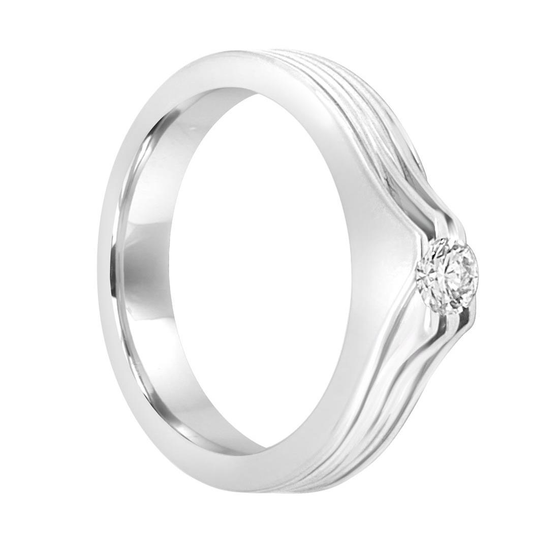 Anello solitario in oro bianco con diamante mis 15 - DAMIANI