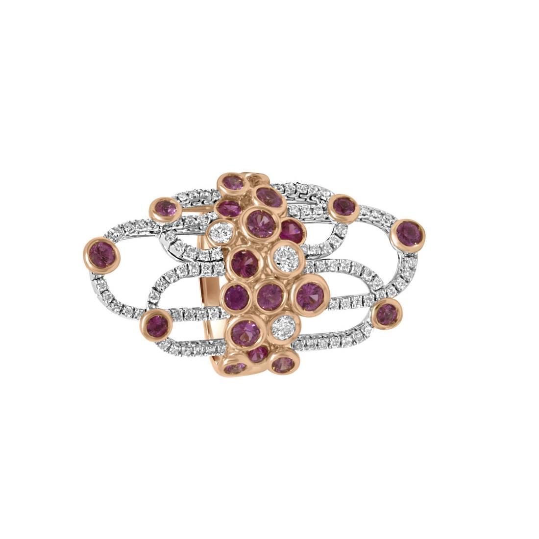 Anello Damiani BOHEME in oro bianco e rosa con diamanti ct 0,79  - DAMIANI
