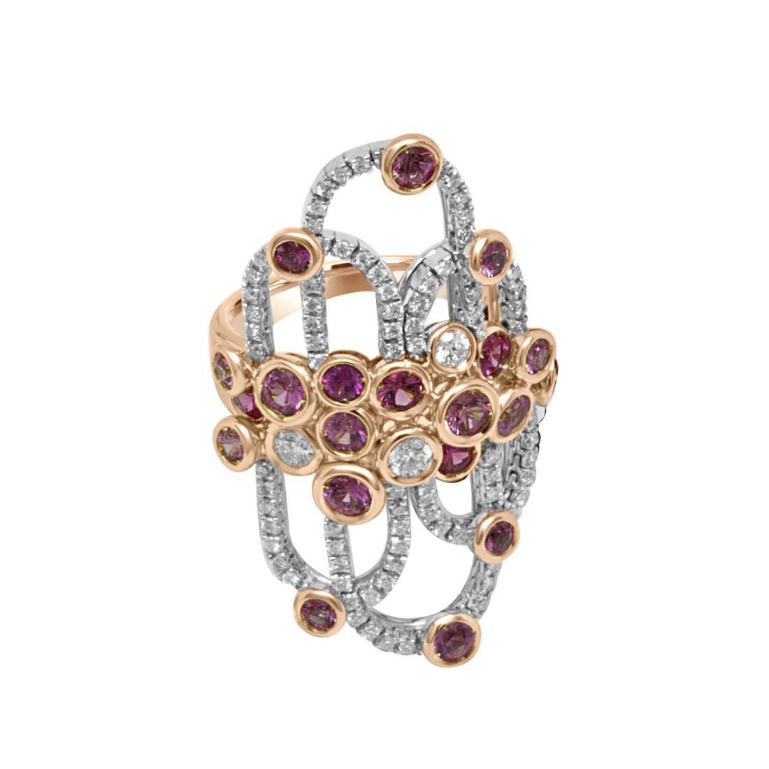 Anello con zaffiri rosa e diamanti - DAMIANI