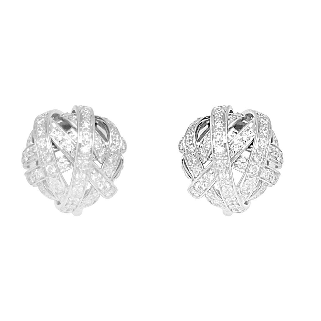 Orecchini Damiani oro bianco con diamanti ct 1,45 - DAMIANI