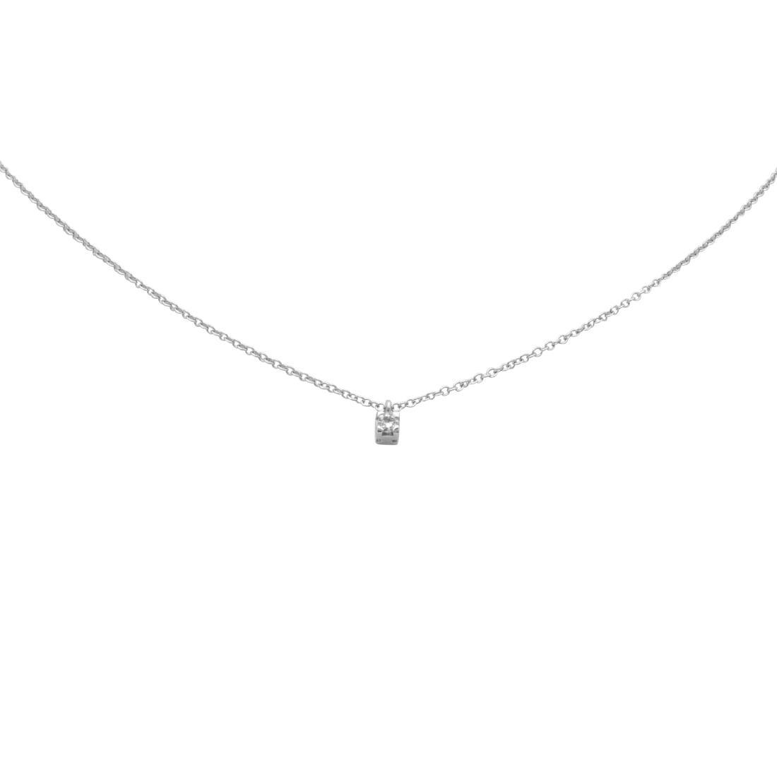 Collana punto luce in oro bianco con diamante ct 0.03 - ORO&CO