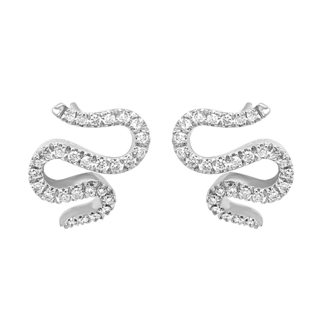 Orecchini in oro bianco a forma di serpente con diamanti ct 0.54 - SALVINI