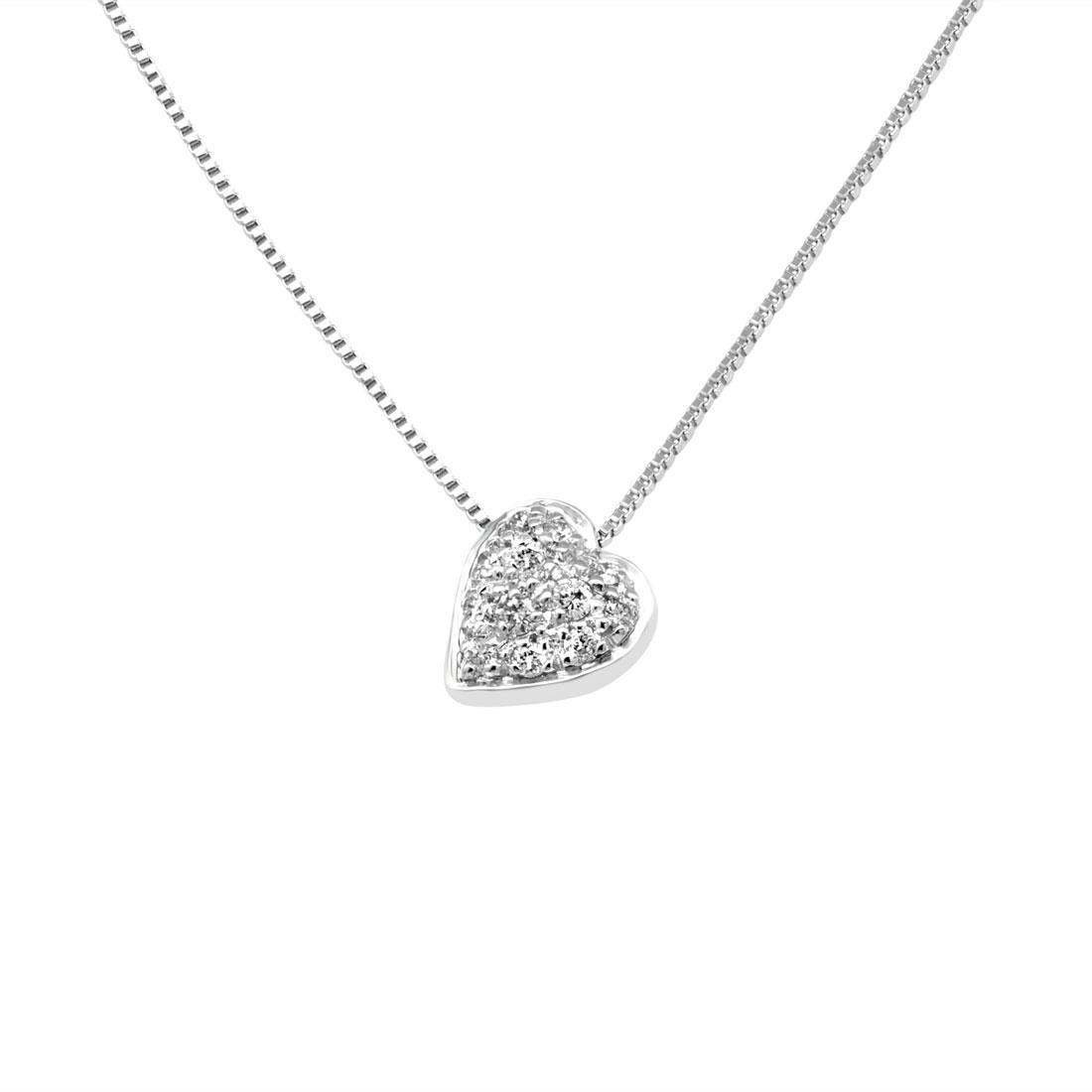 Collana con pendente cuore in oro bianco e diamanti ct 0.15 - SALVINI