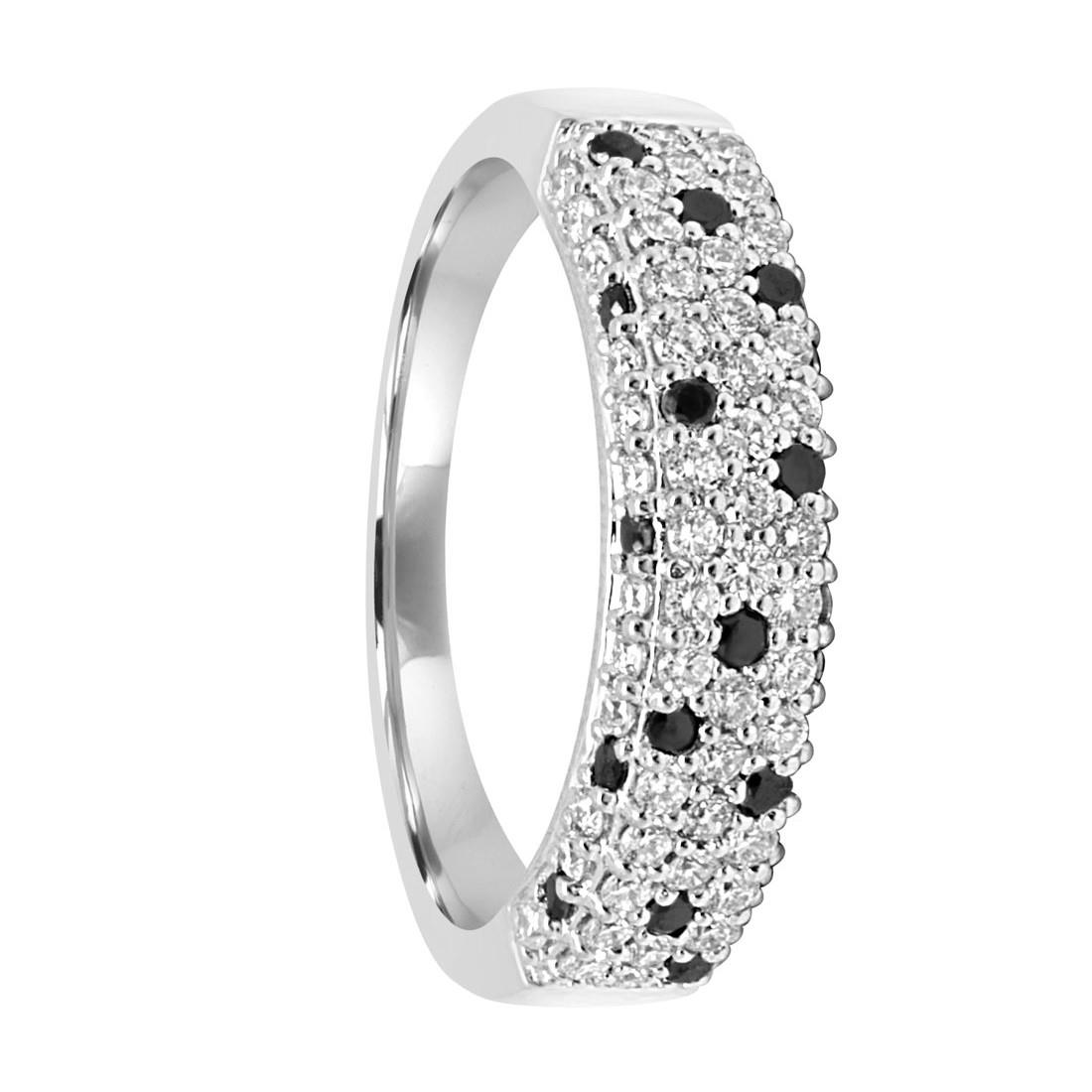 Anello in oro bianco con diamanti bianchi e neri ct 0.80 misura 16 - SALVINI