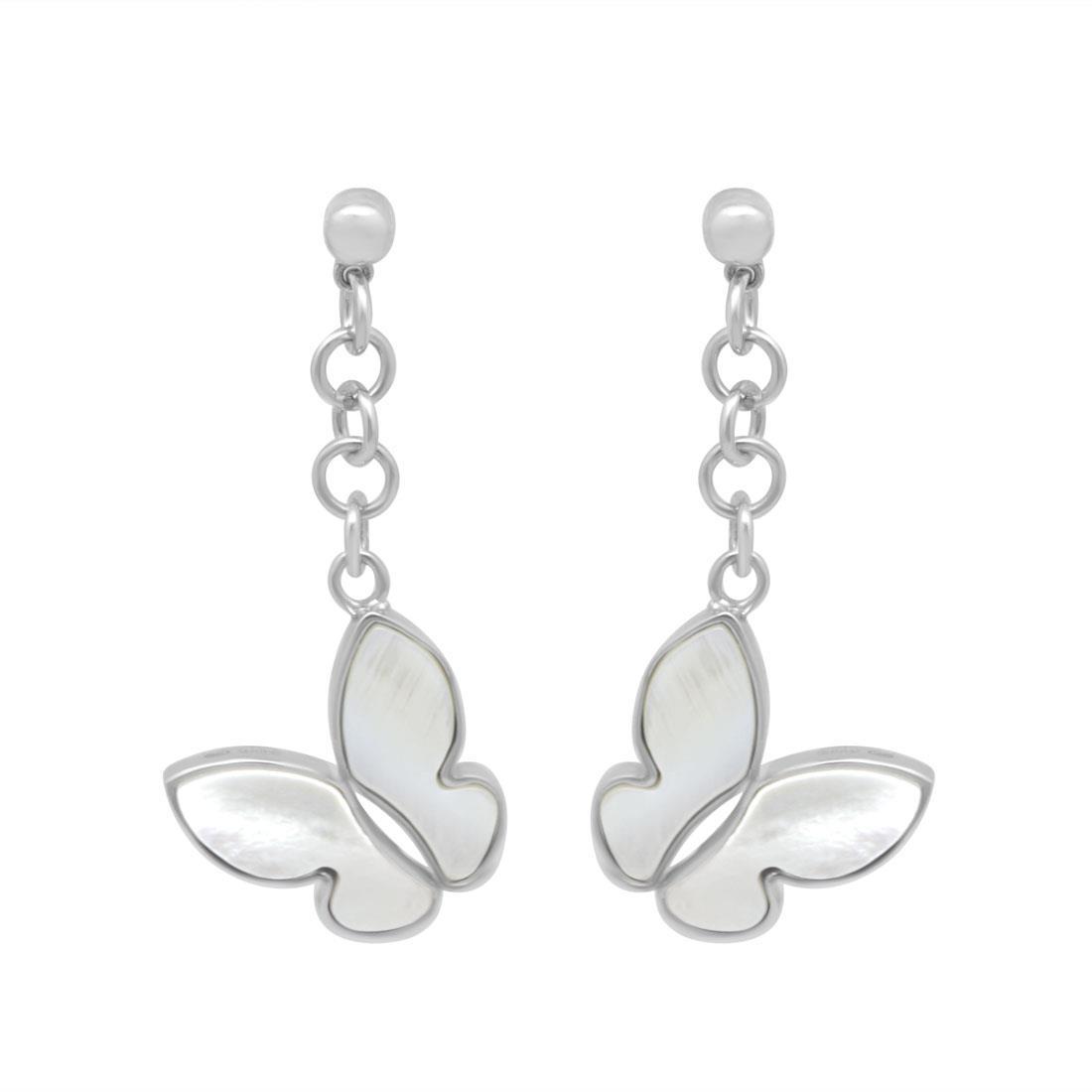 Orecchini pendenti farfalle in argento con madreperla - SALVINI