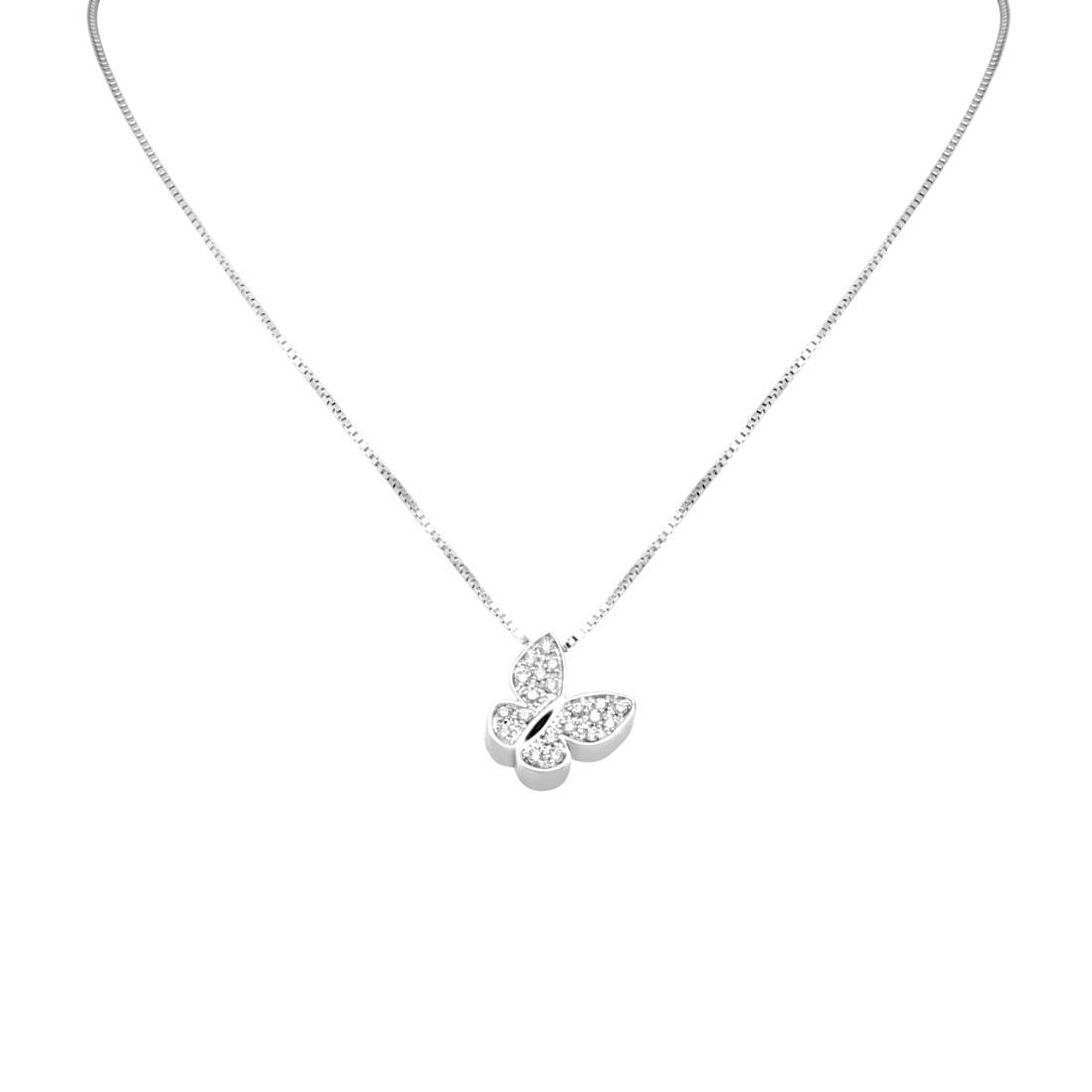 Collana in oro bianco con pendente farfalla e diamanti ct 0.16 - SALVINI