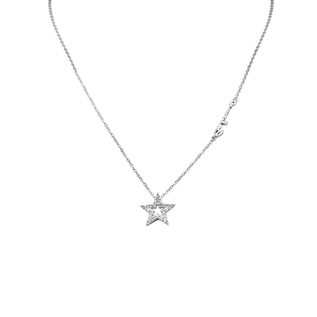 Collana con pendente stella in oro bianco e diamanti ct 0.12 - SALVINI