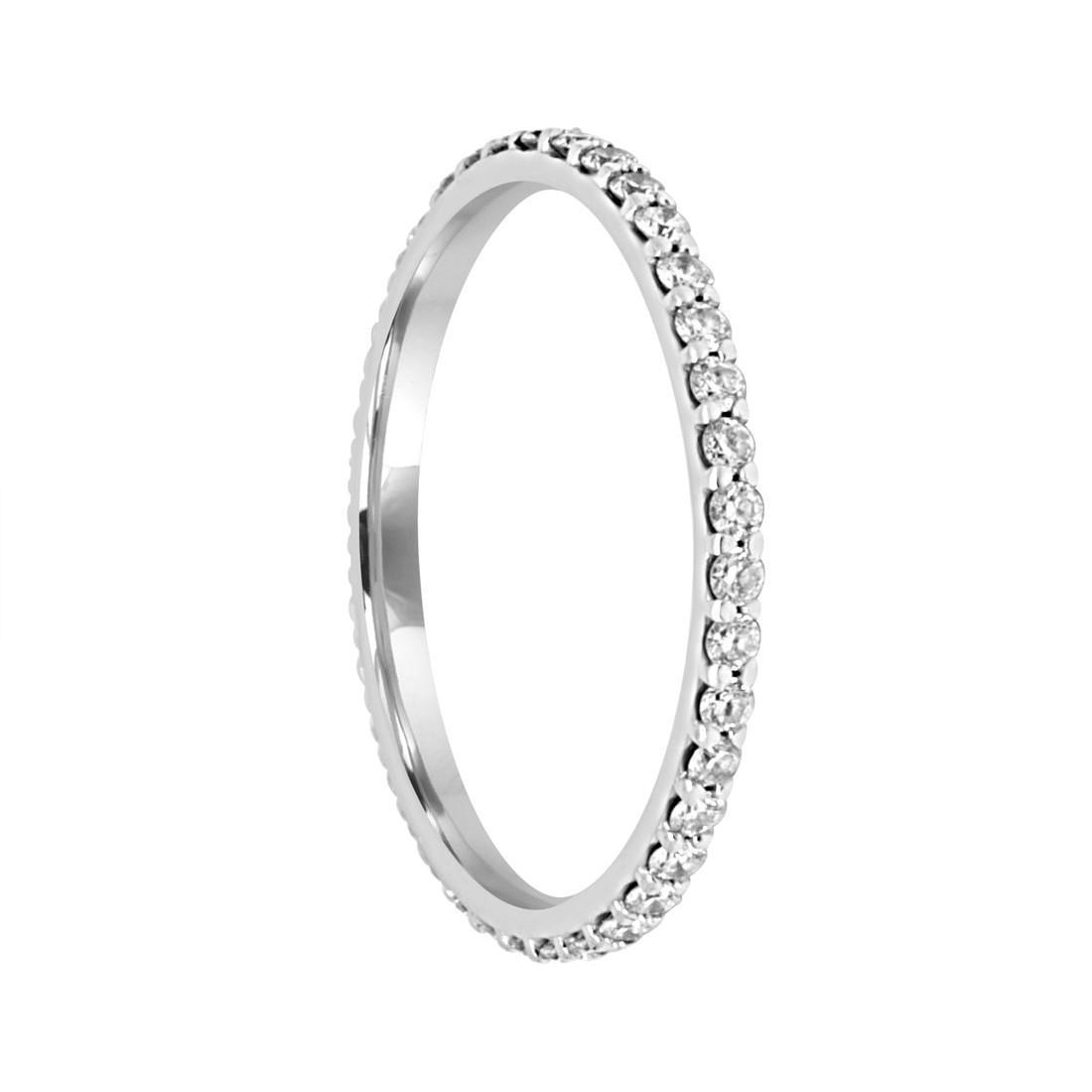 Anello veretta in oro bianco con diamanti ct 0.54 mis 18 - SALVINI