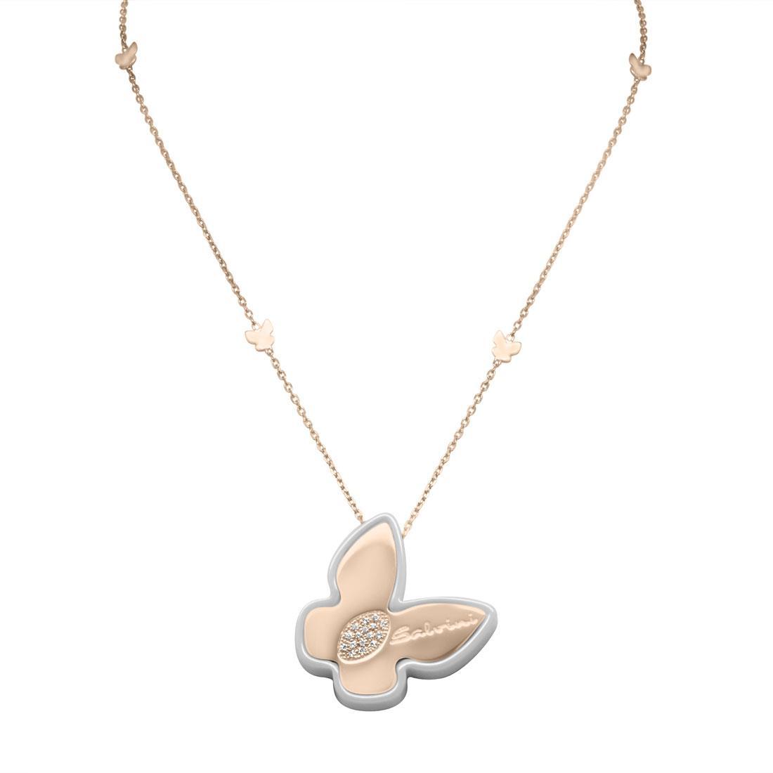 Collana in oro rose'  9 kt, dettaglio in ceramica e diamante ct 0.05 - SALVINI