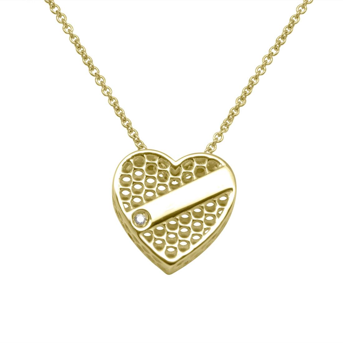 Collana Cuore in oro giallo 9 kt e diamante ct 0.01 - SALVINI