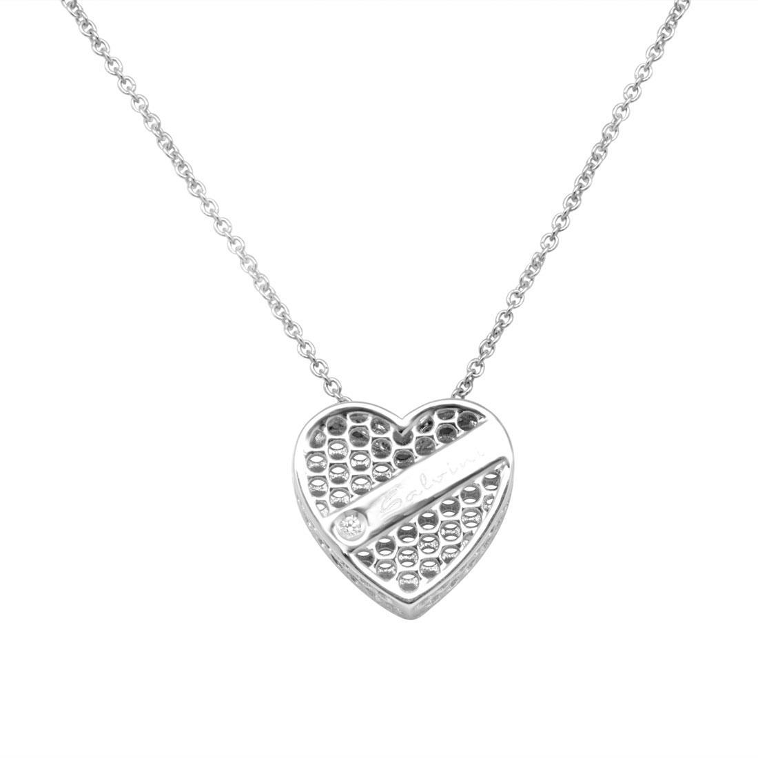 Collana in oro bianco 9 kt e diamante ct 0.01 - SALVINI