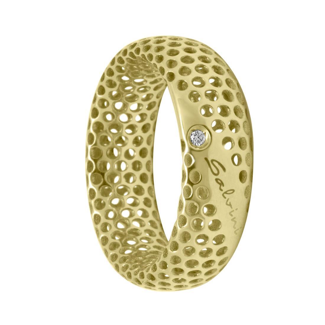 Anello in oro giallo 9 kt e diamante ct 0.01, misura 12 - SALVINI