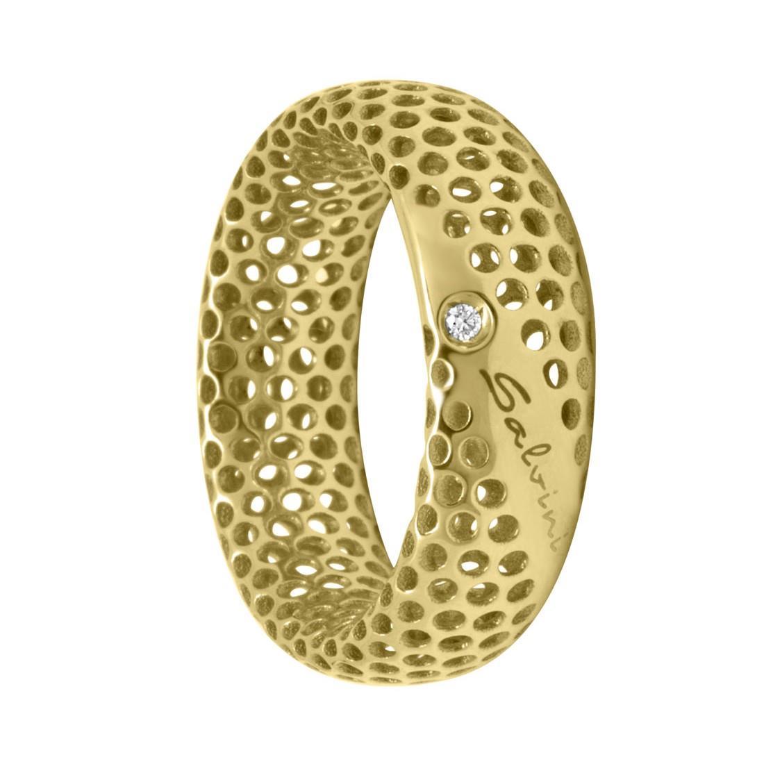 Anello in oro giallo 9 kt e diamante ct 0.01, misura 14 - SALVINI
