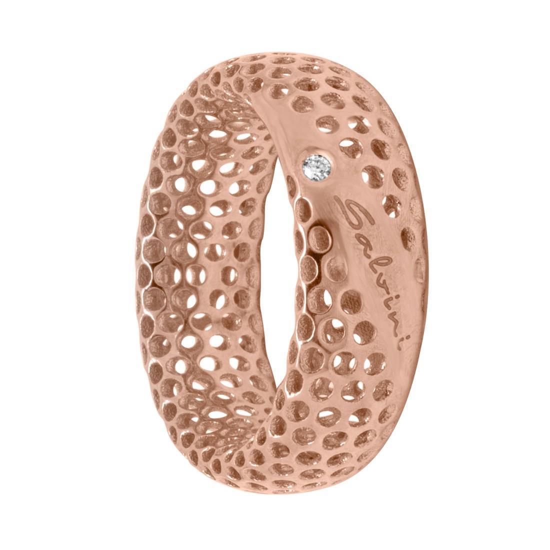 Anello in oro rosa 9 kt con diamante ct 0.01, misura 14 - SALVINI