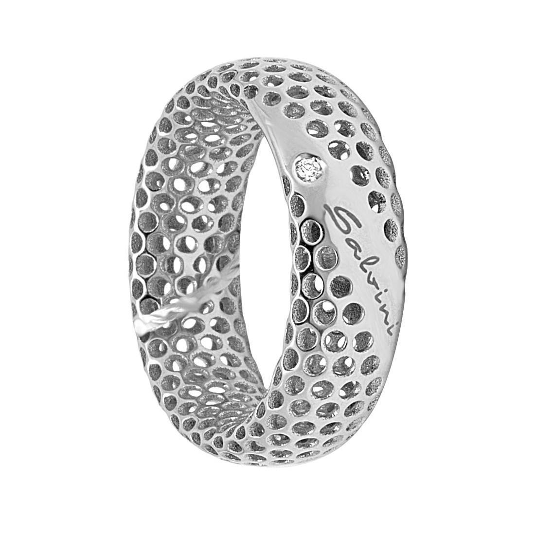Anello in oro bianco 9 kt con diamante ct 0.01, misura 14 - SALVINI