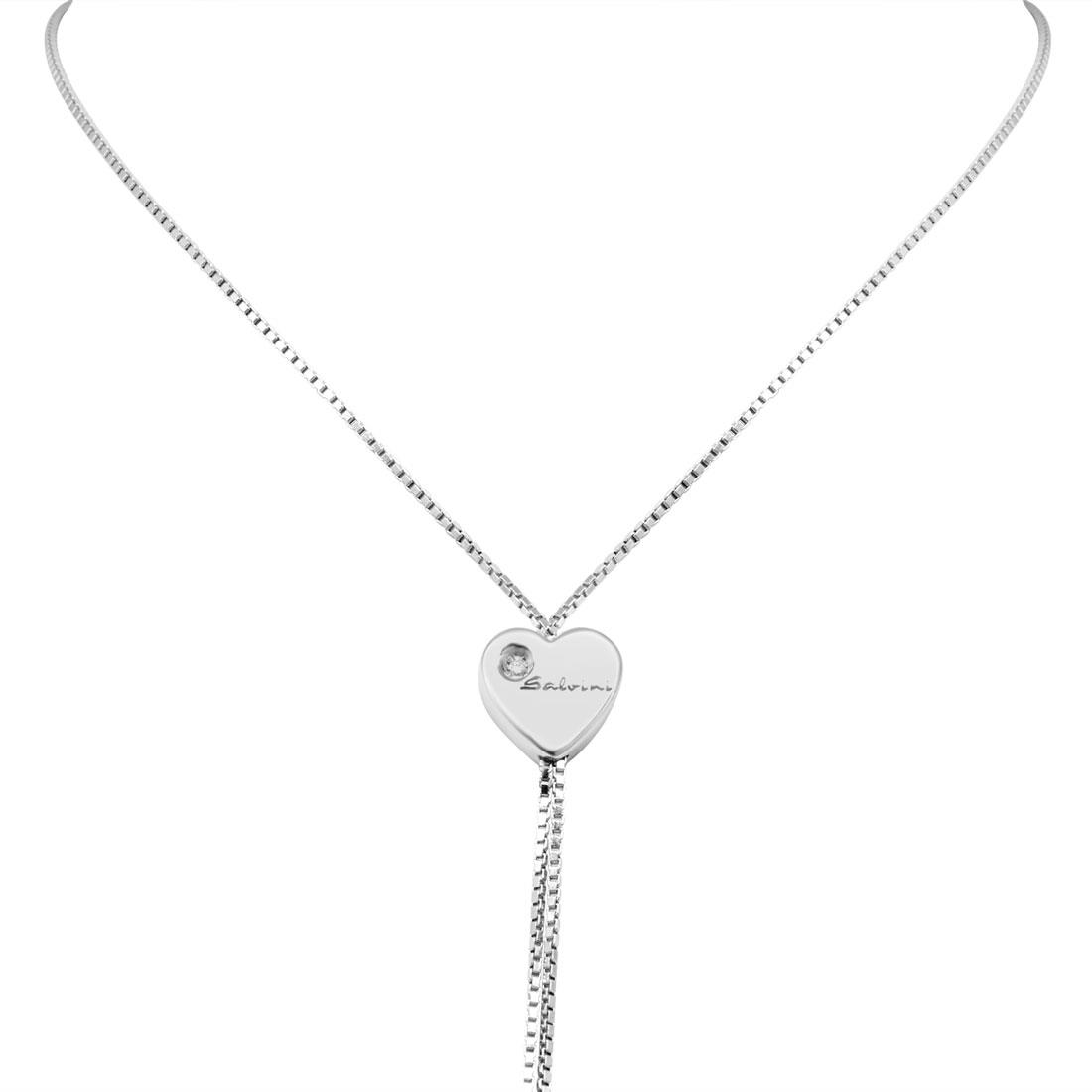 Collana in oro bianco con diamante ct 0.01 - SALVINI