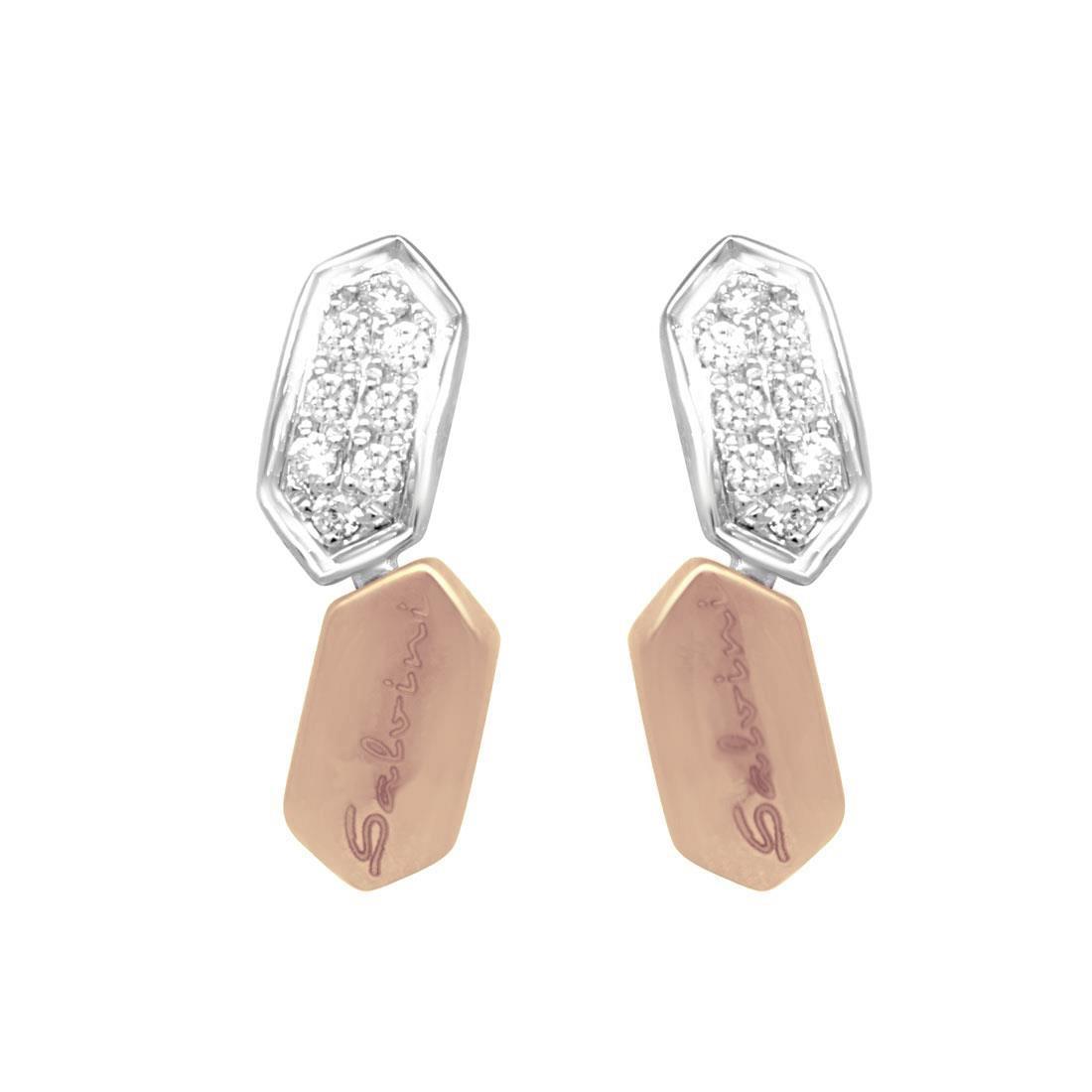 Orecchini in oro bianco e rosa con diamanti - SALVINI