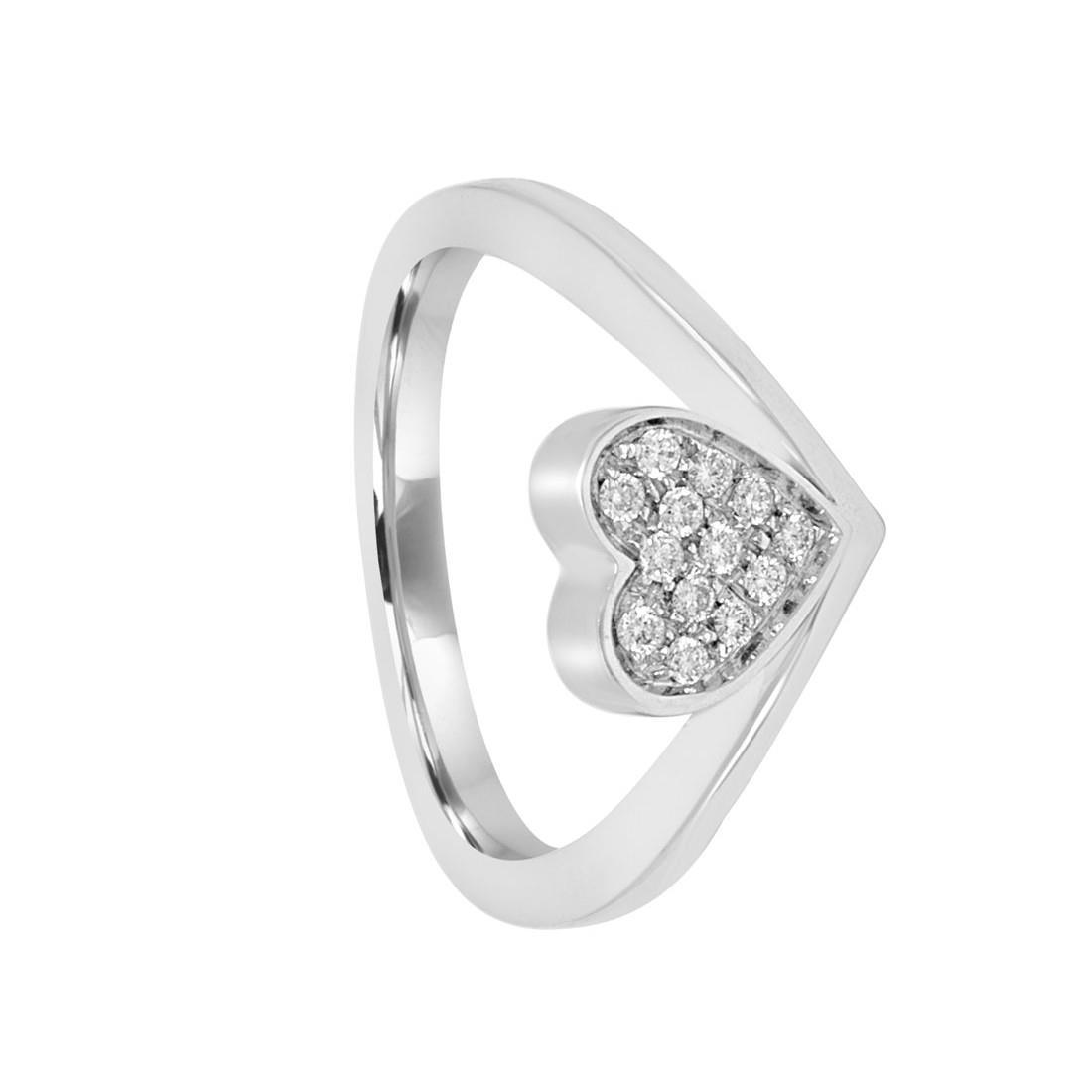 Anello in oro bianco design con diamanti mis 14 - SALVINI
