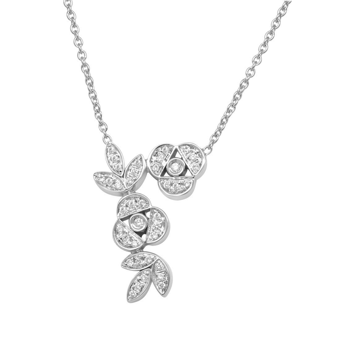 Collier design in oro bianco con diamanti  - SALVINI