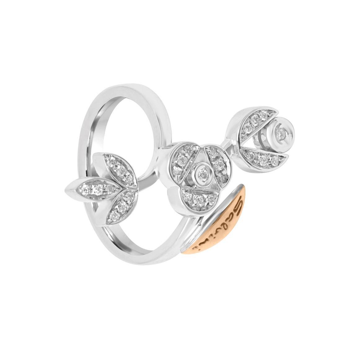Anello in oro bianco design con diamanti mis 15 - SALVINI