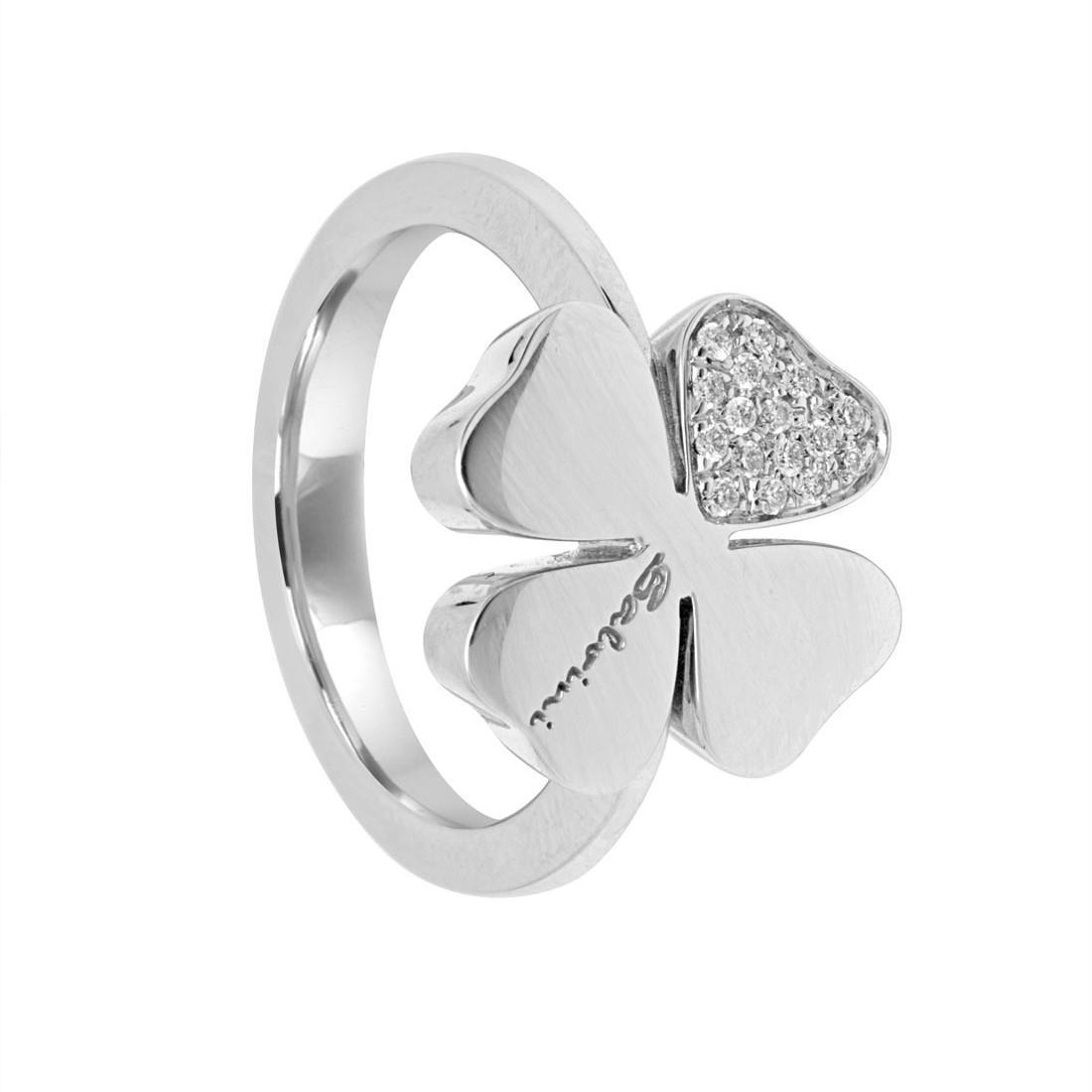 Anello in oro bianco con pavé di diamanti mis 14 - SALVINI