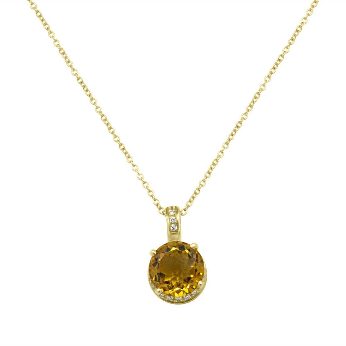 Collana in oro giallo con pendente diamanti ct 0.12 e quarzo citrino - SALVINI