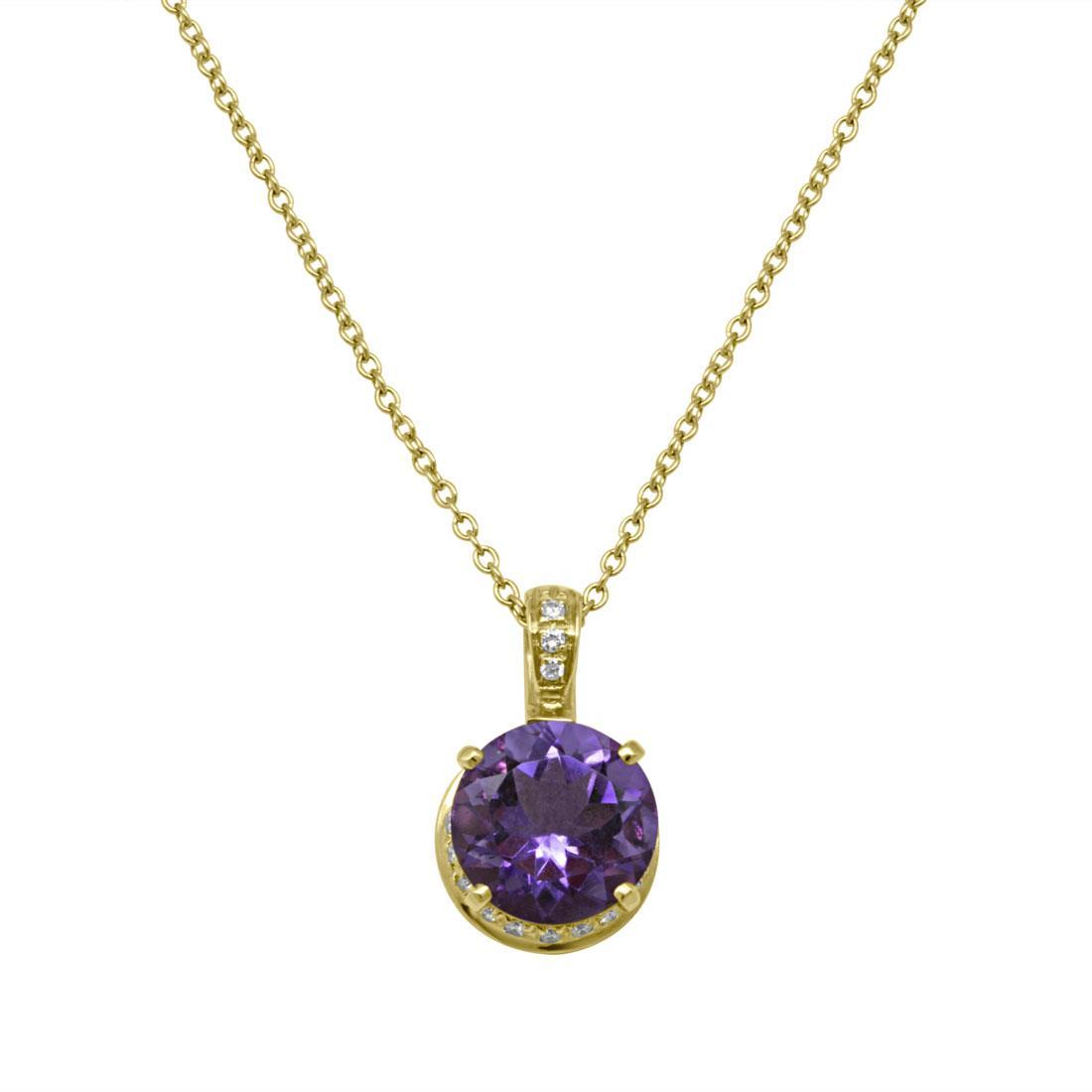 Collana in oro giallo con pendente diamanti ct 0.12 e ametista - SALVINI