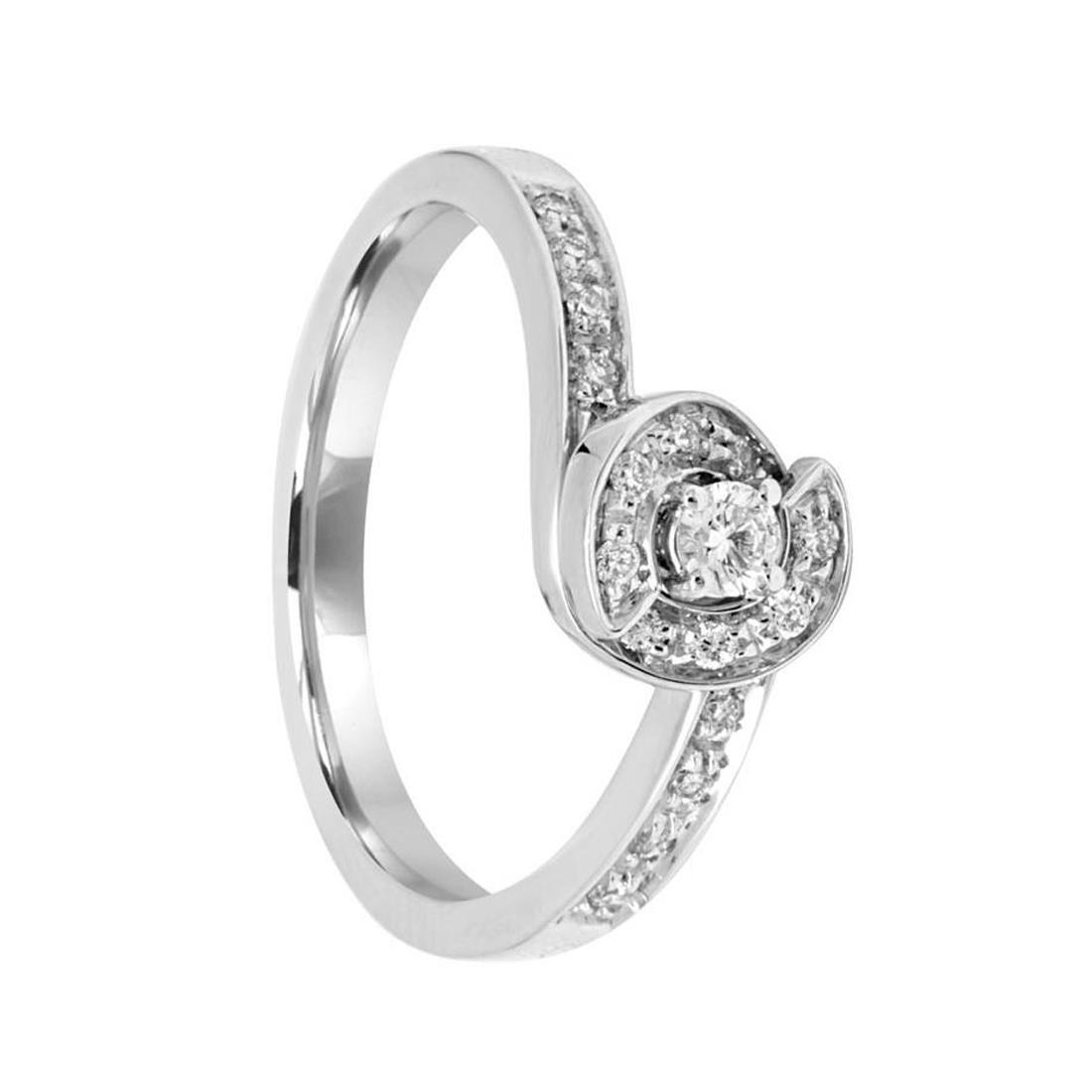 Anello in oro bianco con diamanti ct 0.20 - SALVINI