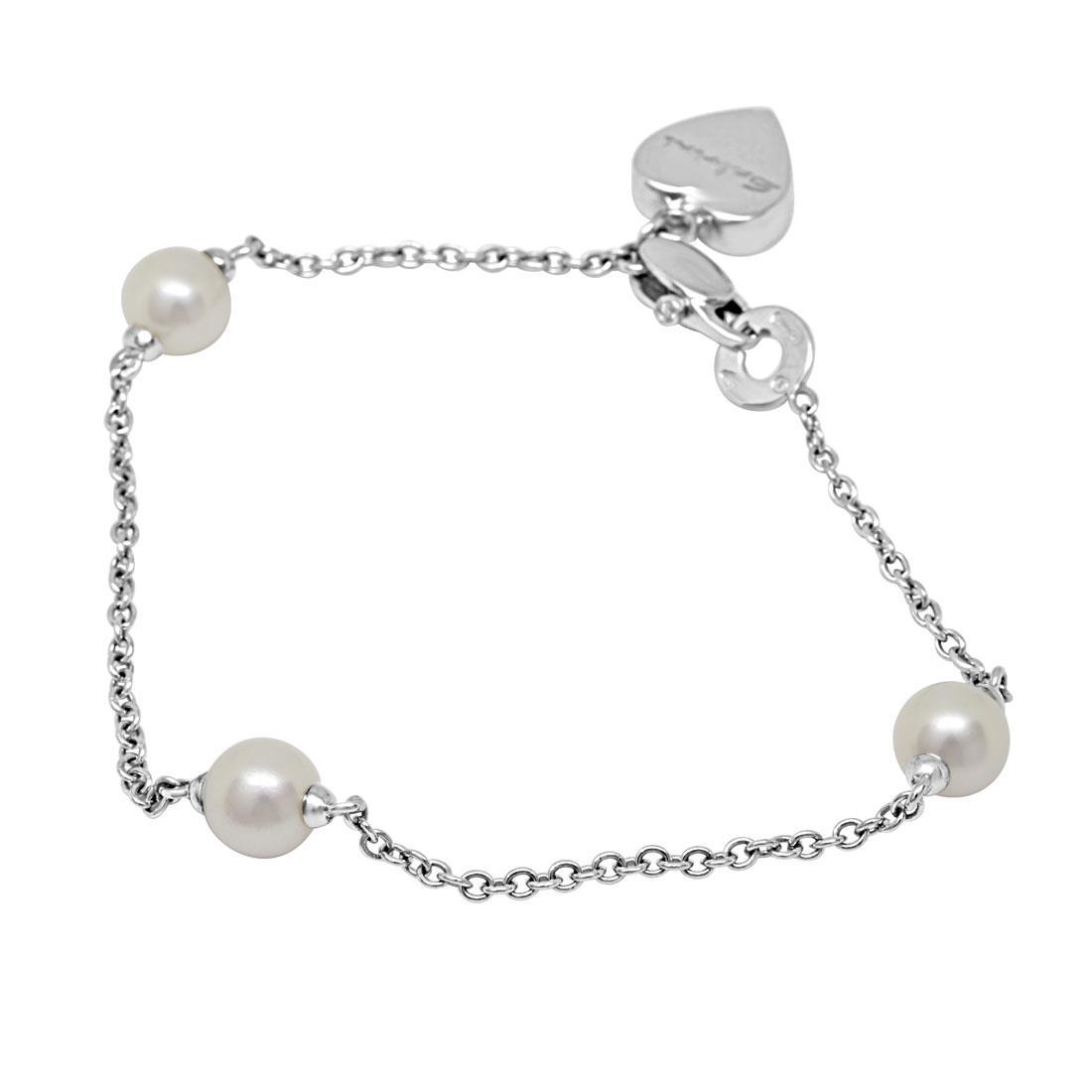 Bracciale in oro bianco con diamanti ct 0.23 e perle - SALVINI