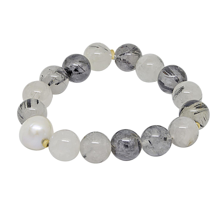 Bracciale con perle e pietre vari colori, diametro 5 cm circa, perle 1 cm - RIVIK