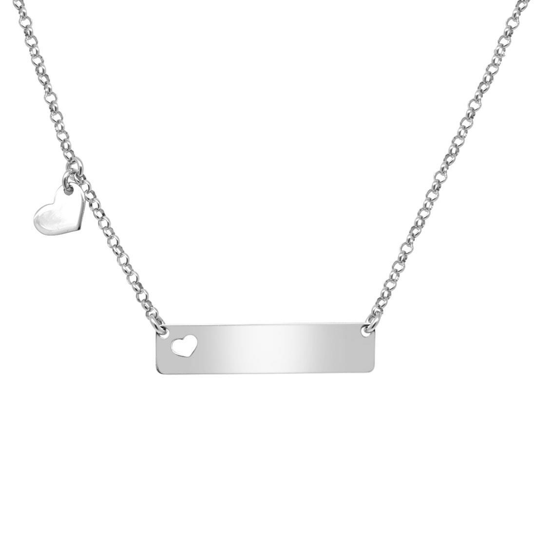 Collana in argento con piastrina e cuore - ORO&CO 925
