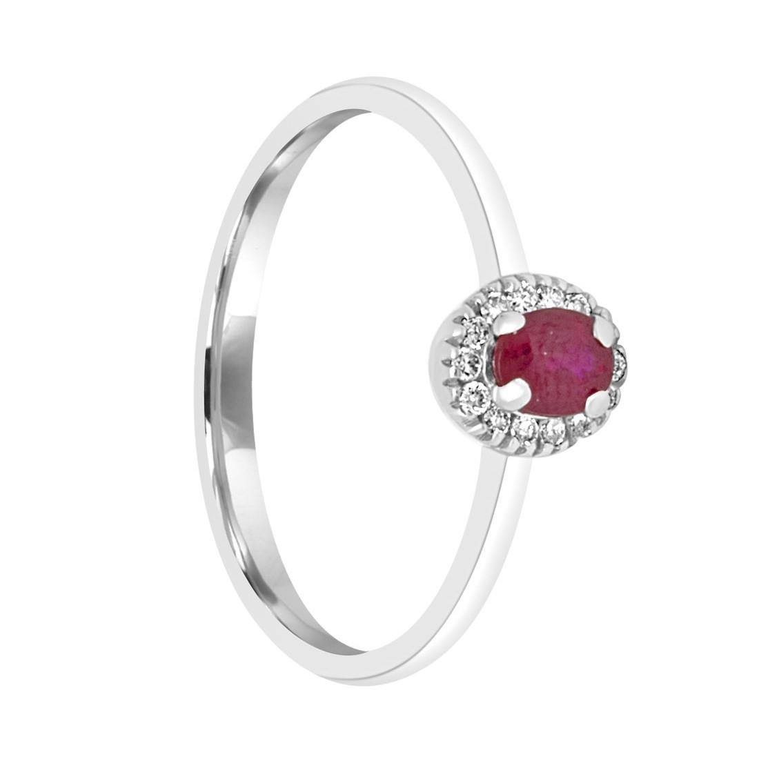 Anello in oro bianco con diamanti e rubino ct. 0,26 - ALFIERI & ST. JOHN